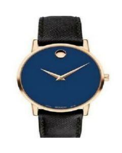 Movado Museum Classic Stainless-steel 0607316 Blue Dial Mens 40-mm Quartz Sapphire crystal. Swiss Made Wrist Watch