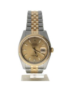 Rolex DateJust 36 Stainless-steel 116233 Champagne Dial Mens 36-mm Automatic self-wind Sapphire crystal. Swiss Made Wrist Watch