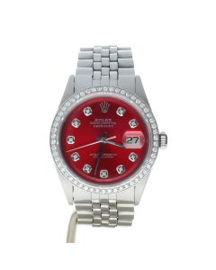 Rolex Datejust 36 Stainless-steel 1601 Red Dial Men's 36-mm Automatic-self-wind Sapphire crystal Watch