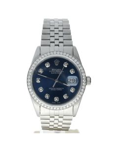 Rolex DateJust 36 Stainless-steel 16014 Blue Dial Mens 36-mm Automatic self-wind Sapphire crystal. Swiss Made Wrist Watch