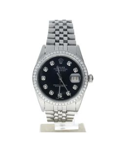 Rolex DateJust 36 Stainless-steel 16014 Black Dial Men's 36-mm Automatic-self-wind Sapphire crystal. Swiss Made Wrist Watch