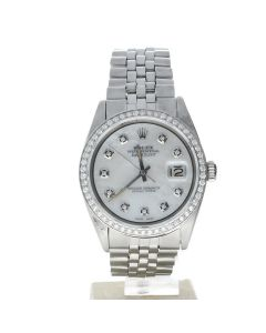 Rolex DateJust 36 Stainless-steel 1601 Mother-of-Pearl Dial Men's 36-mm Automatic-self-wind Sapphire crystal. Swiss Made Wrist Watch