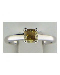 0.51ct Yellow Cushion Diamond 14K WG Solitaire Ring-187572