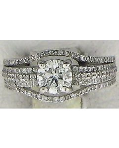 1.30 cts  Round Diamond 18K White Gold Rings - 187838