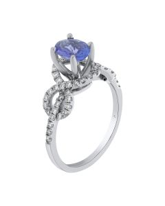 0.78ct Tanzanite & 0.40ct Round Diamond 14k WG Rings -187749