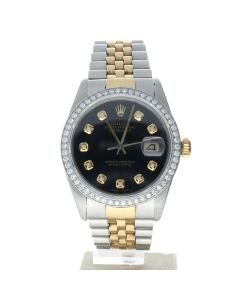 Rolex DateJust 36 Stainless-steel 16013 Black Dial Men's 36-mm Automatic-self-wind Sapphire crystal. Swiss Made Wrist Watch