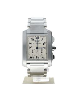 Cartier Tank Francaise Stainless-steel 2653 White Dial Men's 29-mm Quartz Sapphire crystal Wrist Watch