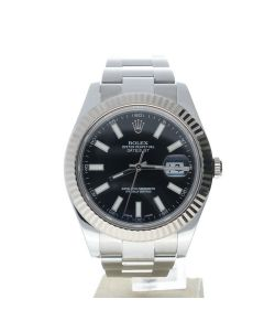 Rolex Datejust 41 Stainless-steel 116334 Black Dial Men's 41-mm Automatic Sapphire crystal. Swiss Made Wrist Watch