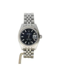 Rolex Datejust 26 Stainless-steel 179174 Black Dial Women's 26-mm Automatic-self-wind Sapphire crystal. Swiss Made WristWatch