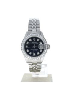 Rolex Datejust 26 Stainless-steel 6917 Black Dial Women's 26-mm Automatic-self-wind Sapphire crystal. Swiss Made WristWatch