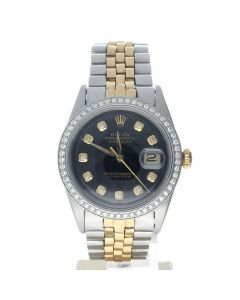Rolex Datejust 36 Stainless-steel 1601 Black Dial Men's 36-mm Automatic-self-wind Sapphire crystal. Swiss Made Wrist