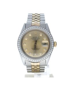 Rolex Datejust 36 Stainless-steel 1601 Champagne Dial Men's 36-mm Automatic-self-wind Sapphire crystal. Swiss Made Wrist