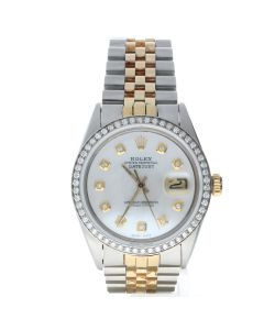 Rolex Datejust 36 Stainless-steel 1601 Mother-of-Pearl Dial Men's 36-mm Automatic-self-wind Sapphire crystal. Swiss Made Wrist