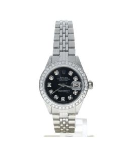 Rolex Datejust 26 Stainless-steel 6916 Black Dial Women's 26-mm Automatic-self-wind Sapphire crystal. Swiss Made Watch