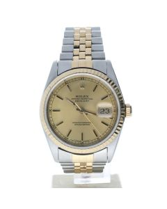 Rolex Datejust 36 Stainless-steel 16233 Champagne Dial Men's 36-mm Automatic-self-wind Sapphire crystal. Swiss MadeWristWatch