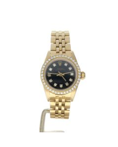 Rolex Oyster Perpetual Yellow-gold 69178 Black Dial Womens 26-mm Automatic Wrist Watch