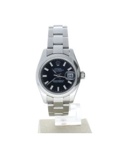 Rolex DateJust 26 Stainless-steel 179160 Black Dial Womens 26-mm Automatic Wrist Watch