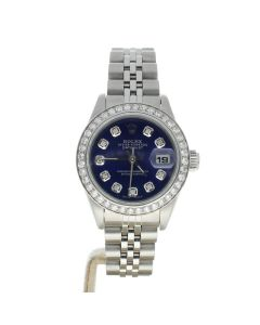 Rolex Datejust 26 Stainless-steel 69160 Blue Dial Women's 26-mm Automatic-self-wind Sapphire crystal. Swiss Made Wrist Watch