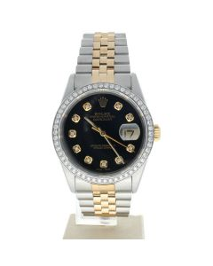 Rolex Datejust 36 Stainless-steel 16233 Black Dial Men's Automatic-self-wind Sapphire crystal. Swiss Made Wrist Watch