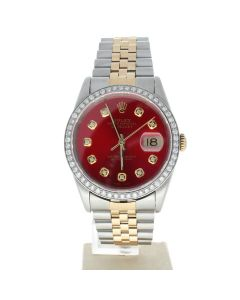 Rolex Datejust 36 Stainless-steel 16233 Red Dial Men's 36-mm Automatic-self-wind Sapphire crystal. Swiss Made Wrist Watch
