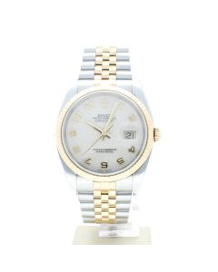 Rolex Datejust 36 Steel-and-18k-gold 116233 Silver Dial Men's 36-mm Automatic-self-wind Sapphire crystal. Swiss Made Wrist Watch
