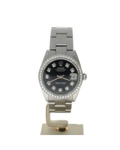 Rolex Datejust 31 Stainless-steel 6824 Black Dial Women's 31-mm Automatic-self-wind Sapphire crystal. Swiss Made Wrist Watch
