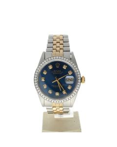 Rolex Datejust 36 Stainless-steel 16013 Blue Dial Men's 36-mm Automatic-self-wind Sapphire crystal. Swiss Made Wrist Watch