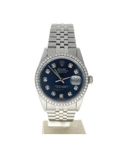 Rolex Datejust 36 Stainless-steel 16014 Blue Dial Men's Automatic-self-wind Sapphire crystal. Swiss Made Wrist Watch