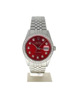 Rolex Datejust 36 Stainless-steel 16014 Red Dial Men's 36-mm Automatic-self-wind Sapphire crystal. Swiss Made Wrist Watch
