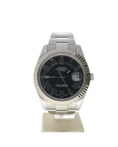 Rolex Datejust II Stainless-steel 116334 Grey Dial Men's 41-mm Automatic-self-wind Sapphire crystal. Swiss Made Wrist Watch