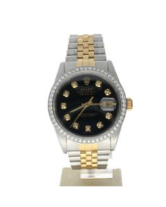 Rolex Datejust 36 Stainless-steel 16233 Black Dial Men's Automatic Sapphire crystal. Swiss Made Wrist Watch
