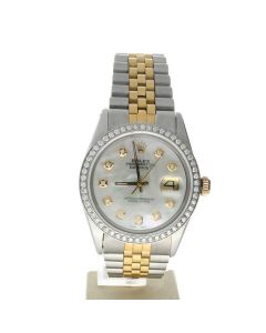 Rolex Datejust 36 Stainless-steel 1601 Mother-of-Pearl Dial Men's 36-mm Automatic-self-wind Sapphire crystal. WristWatch