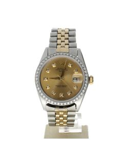 Rolex Date 34 Stainless-steel 1500 Champagne Dial Women's 34-mm Automatic-self-wind Sapphire crystal. Swiss Made Wrist Watch