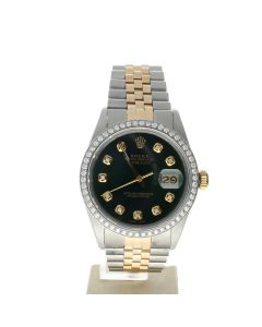 Rolex Datejust 36 Stainless-steel 16013 Green Dial Men's 36-mm Automatic-self-wind Sapphire crystal. Swiss Made Wrist Watch