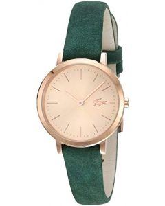 Lacoste Women's Moon Small Stainless Steel Quartz Watch with Leather Strap, Green, 12 (Model: 2001050)