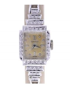 Benrus Vintage Steel-and-14k-gold AE13 Gold Dial Womens 18-mm Manual Glass cryst
