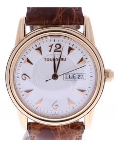 18K Tourneau Men's 38 Millimeters Beige Dial Wrist Watch