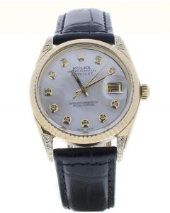 Rolex Datejust 36 Yellow-gold 1503 Mother-of-Pearl Dial Men's 36-mm Automatic-self-wind Sapphire crystal. Swiss Made Wrist Watch