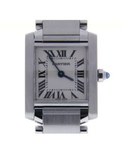 Cartier Tank Francaise Stainless-steel 2384 White Dial Womens 20-mm Quartz Watch