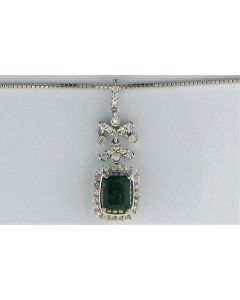 1.42ct Emerald  Emerald and 0.39ct Round White Diamond  18k WG Pendants - 187681