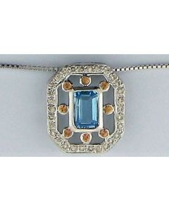 0.60ct Blue Topaz, 0.08ct Orange Topaz & 0.15ct Diamond Pendant in 18k WG -187686