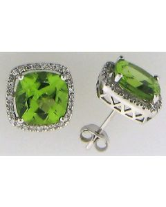 6.00ct Cushion Peridot and 0.23ct Round White Diamond  14k WG Earrings - 187701