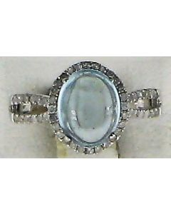 3.50ct Cabochon Topaz and 0.45ct Round White Diamond  10k WG Rings - 187724