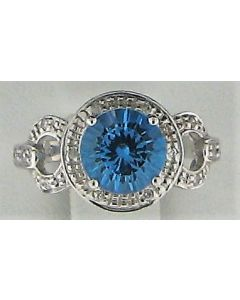1.88ct Round Blue Topaz and 0.09ct Round White Diamond  14k WG Rings - 187725