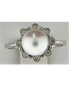 8.10mm Round  Pearl and 0.13ct  Round White Diamond  14k WG Rings - 187726