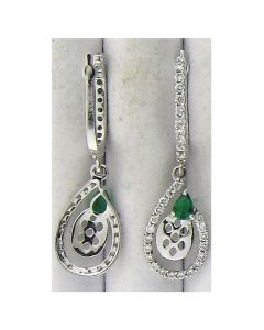 Synthetic Green Glass Pear Stone  & 0.77ct Round Diamond Earring in 18k WG -187800