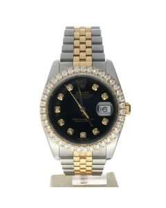 Rolex DateJust 36 Stainless-steel 116233 Black Dial Mens 36-mm Automatic self-wind Sapphire crystal. Swiss Made Wrist Watch