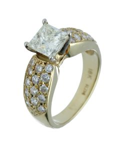 2.71 ct. t.w.t Princess Diamond Side Stone Ring in 18k Yellow Gold-201858