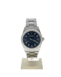 Rolex Oyster Perpetual Stainless-steel 77080 Blue Dial Women's 31-mm Automatic-self-wind Sapphire crystal. Swiss Made Wrist Watch