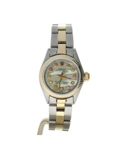 Rolex Oyster Perpetual 26 Stainless-steel 6614 Mother-of-Pearl Dial Women's 26-mm Automatic-self-wind Sapphire crystal. Swiss Made Wrist Watch